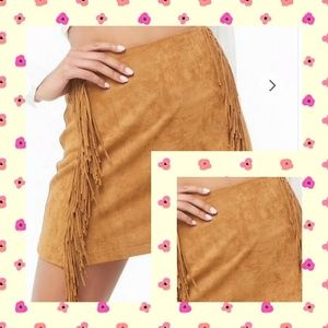 Faux suade fringe mini skirt